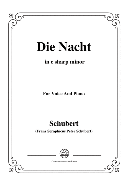 Schubert Die Nacht In C Sharp Minor D 534 For Voice And Piano