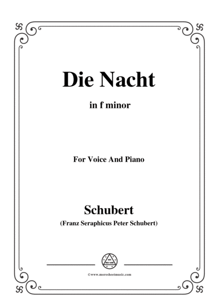 Schubert Die Nacht In F Minor D 534 For Voice And Piano
