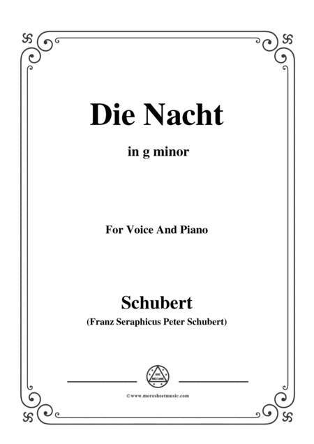 Schubert Die Nacht In G Minor D 534 For Voice And Piano