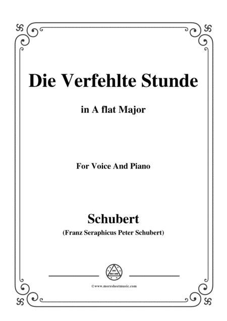 Schubert Die Verfehlte Stunde In A Flat Major For Voice Piano