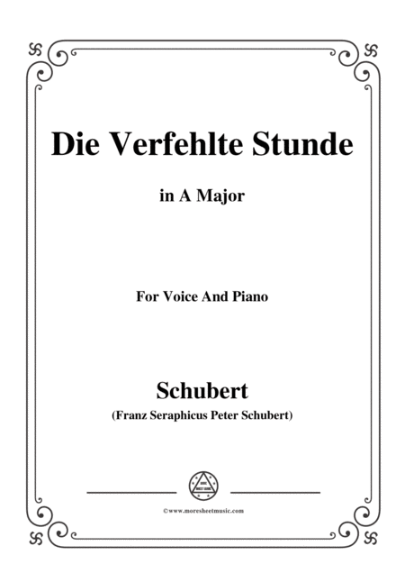 Schubert Die Verfehlte Stunde In A Major For Voice Piano