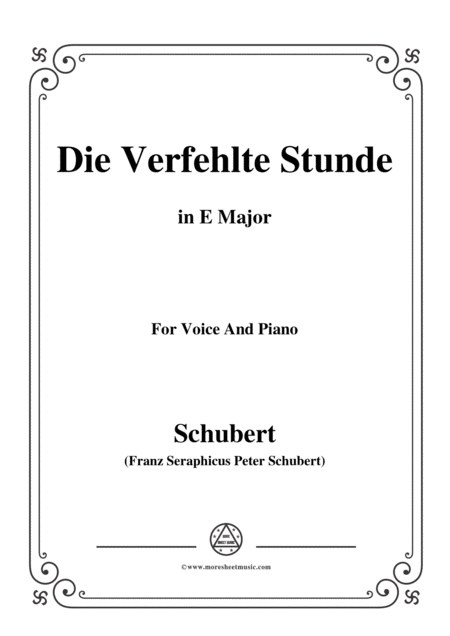 Schubert Die Verfehlte Stunde In E Major For Voice Piano