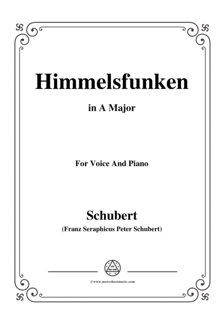 Schubert Himmelsfunken In A Major For Voice And Piano
