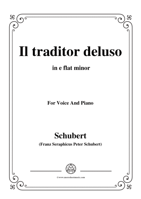 Schubert Il Traditor Deluso In E Flat Minor For Voice And Piano