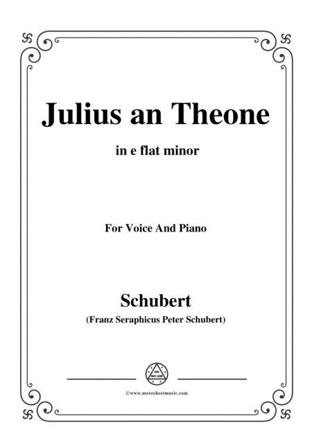 Schubert Julius An Theone In E Flat Minor For Voice Piano