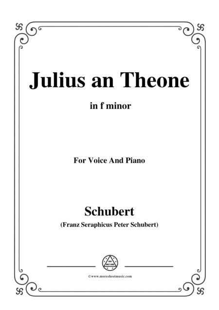 Schubert Julius An Theone In F Minor For Voice Piano