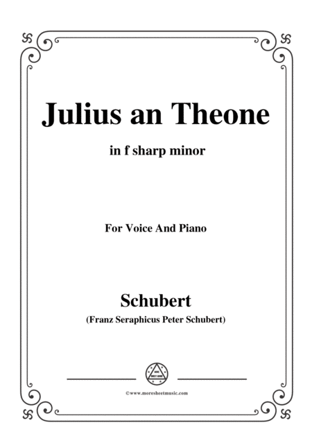 Schubert Julius An Theone In F Sharp Minor For Voice Piano
