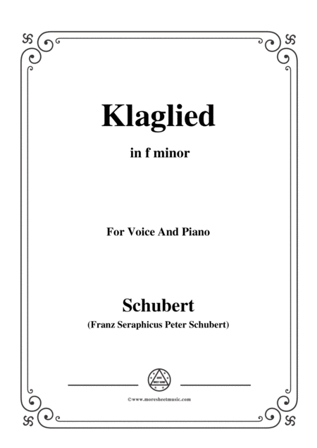 Schubert Klaglied Op 131 No 3 In F Minor For Voice Piano