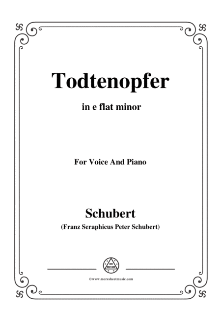 Schubert Todtenopfer In E Flat Minor For Voice Piano