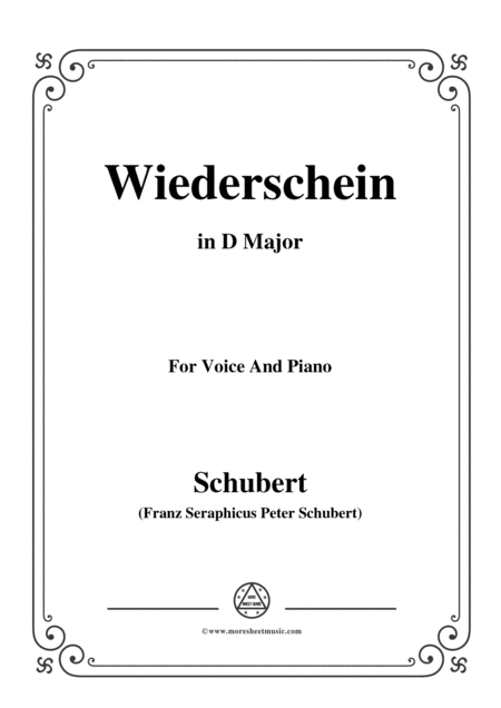 Schubert Wiederschein In D Major For Voice Piano