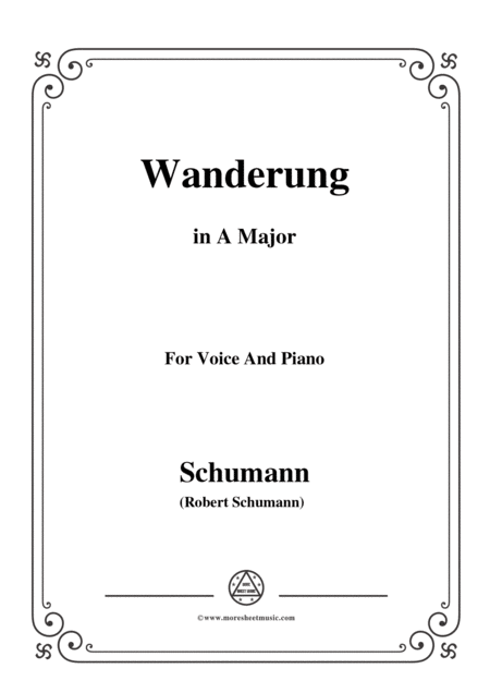 Schumann Wanderung In A Major For Voice And Piano