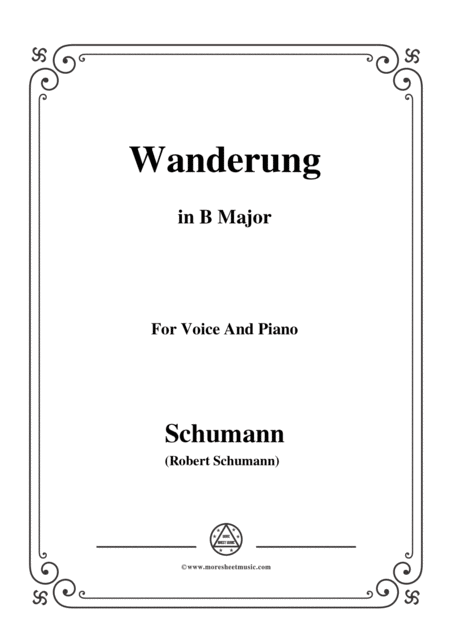 Schumann Wanderung In B Major For Voice And Piano