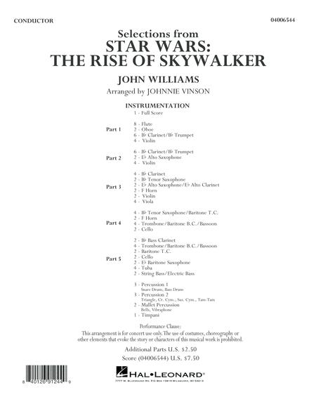 Selections From Star Wars The Rise Of Skywalker Conductor Score Full Score