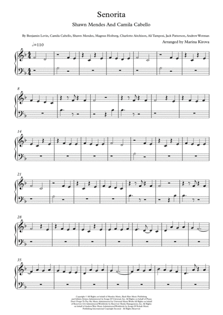 Senorita By Shawn Mendes And Camila Cabello Beginner Piano With Note Names In Easy To Read Format