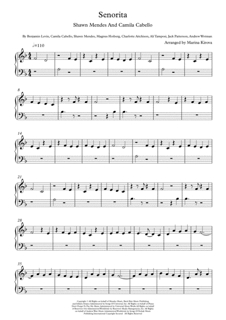 Senorita By Shawn Mendes And Camila Cabello Very Easy Piano In Easy To Read Format