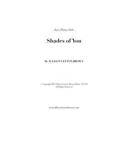 Shades Of You A Jazz Piano Solo By Allison Leyton Brown
