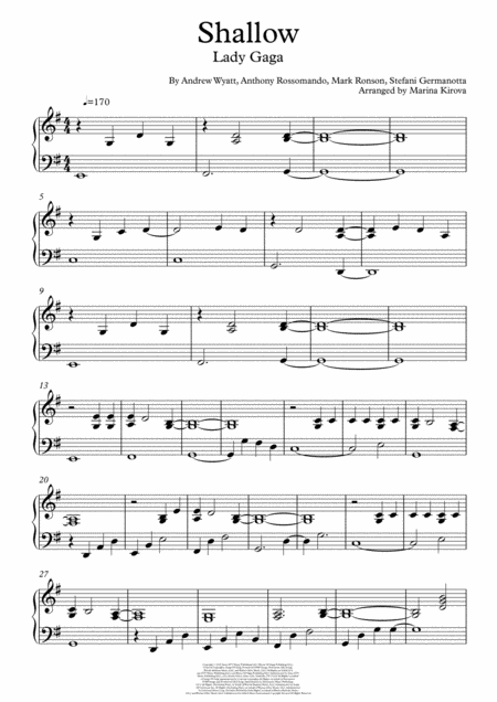 Shallow Advanced Piano Easy To Read Format