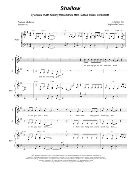 Shallow Duet For Soprano And Alto Solo