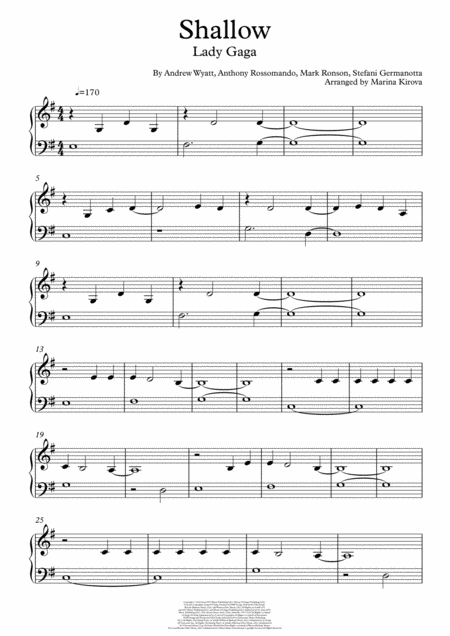 Shallow Easy Piano In Easy To Read Format