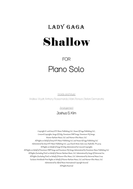 Shallow For Piano Solo With Lyrics