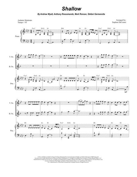 Shallow For Saxophone Quartet And Piano