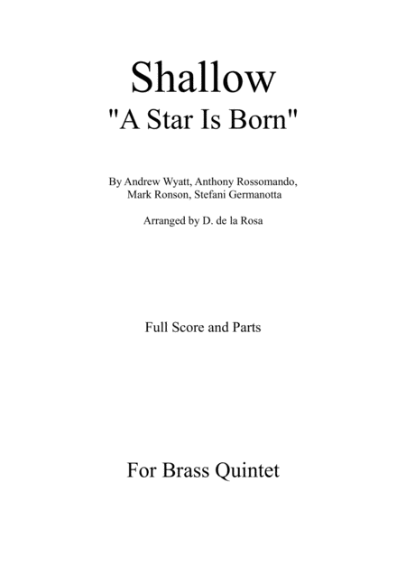 Shallow From A Star Is Born For Brass Quintet Full Score And Parts