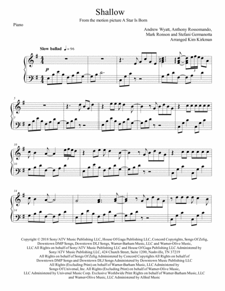 Shallow From A Star Is Born For Early Intermediate Piano Great Arrangement In Original Key