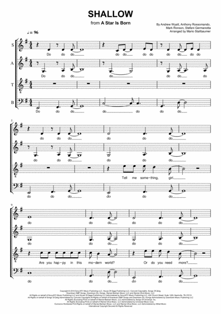 Shallow From A Star Is Born Satb