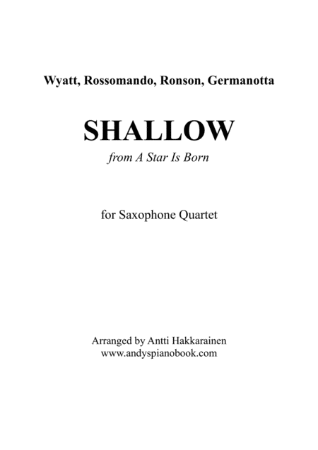 Shallow From A Star Is Born Saxophone Quartet