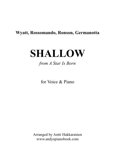 Shallow From A Star Is Born Voice Piano