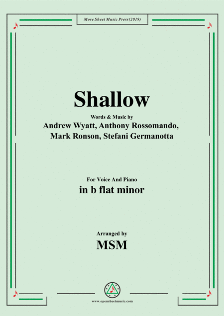 Shallow In B Flat Minor For Voice And Piano