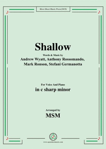 Shallow In C Sharp Minor For Voice And Piano