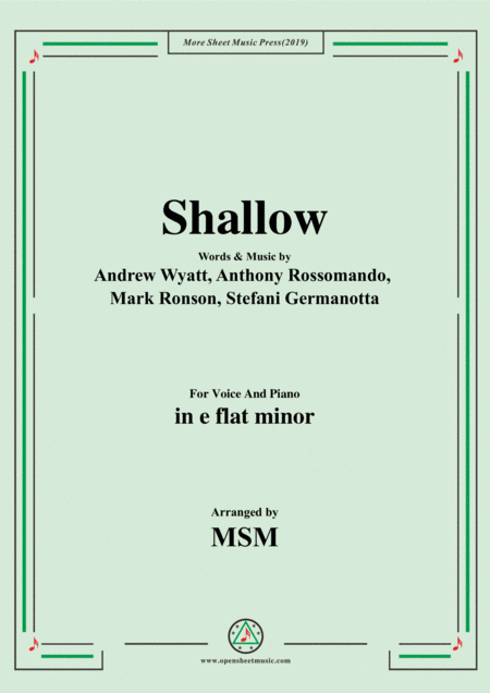 Shallow In E Flat Minor For Voice And Piano