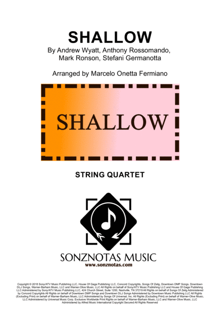 Shallow Lady Gaga For String Quartet Score And Parts