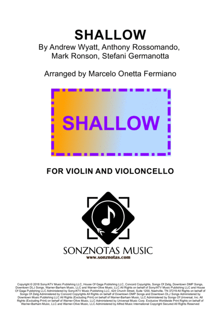 Shallow Lady Gaga For Violin And Cello Sheet Music