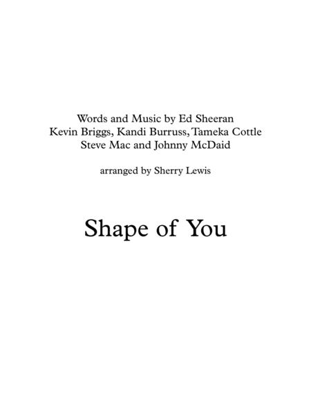 Shape Of You String Quartet For String Quartet