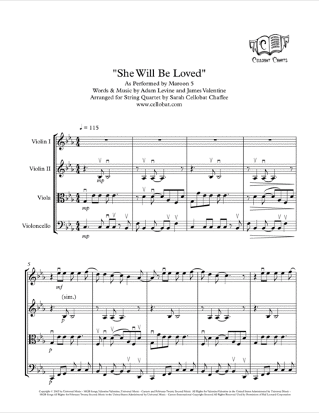 She Will Be Loved String Quartet Maroon 5 Arr Cellobat