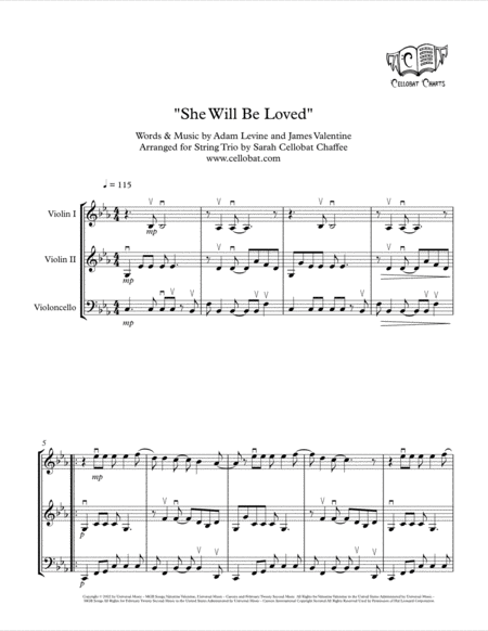 She Will Be Loved String Trio 2 Violins Cello Maroon 5 Arr Cellobat