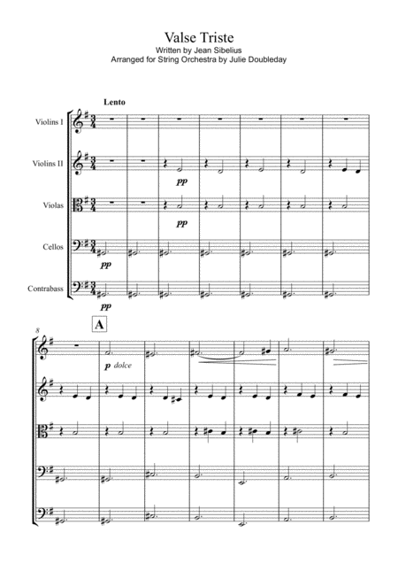 Sibelius Valse Triste For String Orchestra Score And Parts