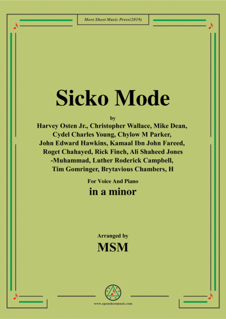 Sicko Mode In A Minor For Voice And Piano