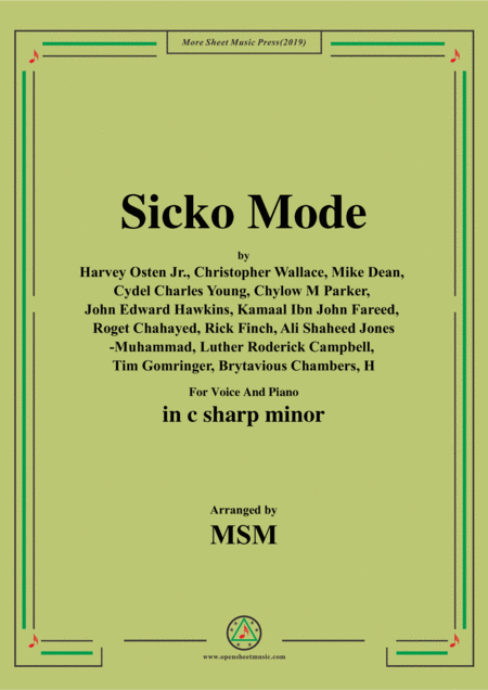 Sicko Mode In C Sharp Minor For Voice And Piano