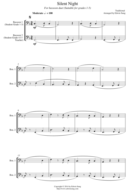 Silent Night For Bassoon Duet Suitable For Grades 1 5