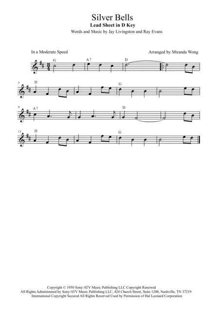 Silver Bells Lead Sheet In D Key With Chords