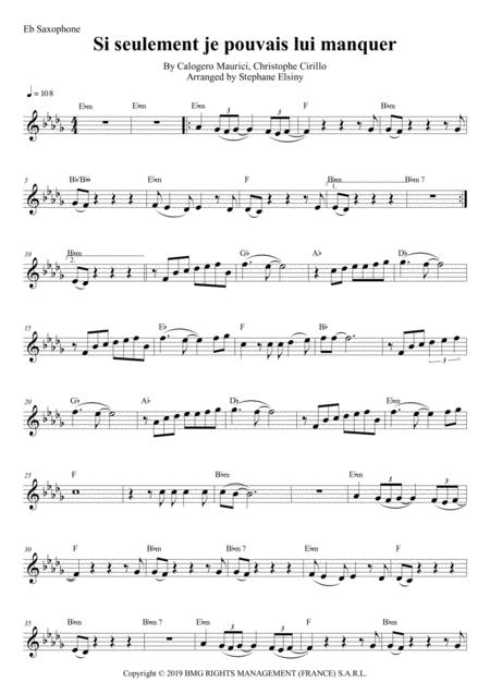 si seulement je pouvais lui manquer calogero karaoke for saxophone eb free music  sheet - musicsheets.org  music sheet library for all instruments
