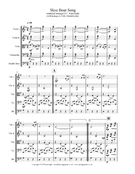 Skye Boat Song For String Quartet With Additional Optional Bass Part Score Parts With Mp3