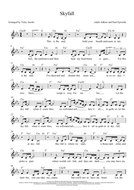 Skyfall Lead Sheet For Singalongs