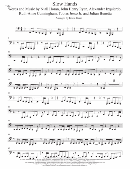 slow hands original key tuba free music sheet - musicsheets.org  music sheet library for all instruments