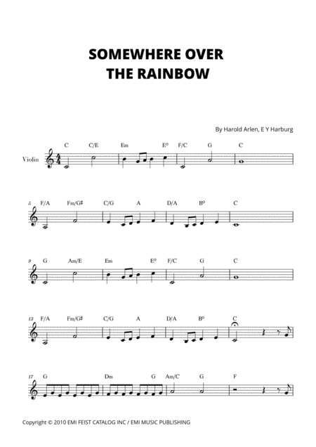 Somewhere Over The Rainbow For Violin C Major
