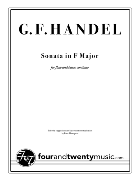 Sonata In F Major For Flute Recorder And Continuo Piano Opus 1 No 11 Hwv 369