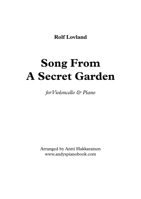 Song From A Secret Garden Cello Piano